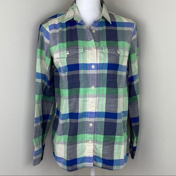 J. Crew Flannel Shirt Green Size 4 Green Plaid